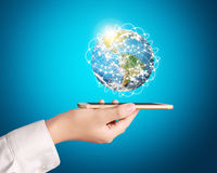Smartphone touch screen social networking Royalty Free Stock Photography