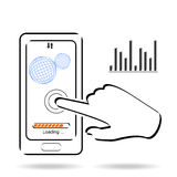 Smartphone touchscreen application and mobile connection icon vector illustration stock illustration