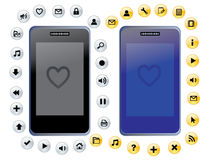Smartphone. Touchscreen  illustration with icons Stock Images