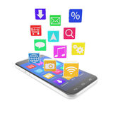 Smartphone touchscreen phone, with applications in Stock Images