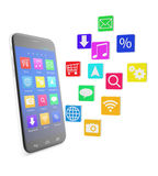 Smartphone touchscreen phone, with applications in. The form of icons isolated on white background with shadow. 3d illustration of a high quality Stock Photography