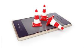 Smartphone, traffic cones, road conet on a white background 3D illustration, 3D rendering stock photos