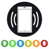 Smartphone-tragbares Gerät, das flache Ikone für Apps und Website schellt oder vibriert vektor abbildung