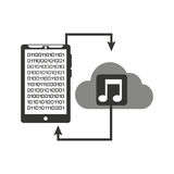 Smartphone transfer cloud data music Stock Photography