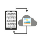 Smartphone transfer cloud data picture Stock Image