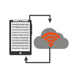Smartphone transfer cloud data wifi Royalty Free Stock Photography