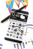 Smartphone with a transparent display. Stock Photos