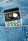 Smartphone with a transparent screen in a pocket of jeans. Stock Photography