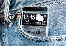 Smartphone with a transparent screen in a pocket of jeans. royalty free stock images