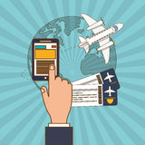 Smartphone and travel  icon design Stock Image