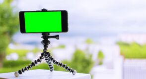 Smartphone on a tripod with green screen on it. mobile smart phone with chroma key green screen on blurry city background