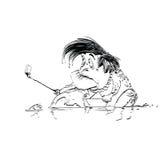Smartphone triste del selfie del sapo libre illustration
