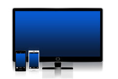 Smartphone and TV Royalty Free Stock Photography