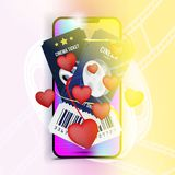 Smartphone with two cinema ticket with red hearts for Valentines day on colour background with shadow. Flat vector. Illustration EPS 10 Royalty Free Stock Image