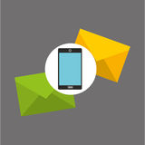Smartphone two envelope message design Royalty Free Stock Photos