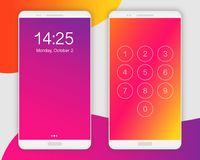 Smartphone ui application concept, front view. Smartphone screen ui, ux template backgrounds. Abstract gradient texture, vector illustration. Blurred red Royalty Free Stock Images