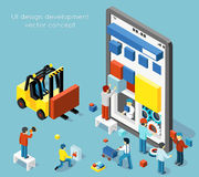 Smartphone UI design development vector concept in flat 3d isometric style Royalty Free Stock Image