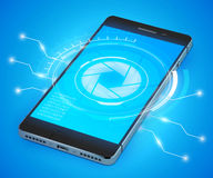 Smartphone Ui Realistic. Realistic 3d smartphone model with ui concept abstract vector illustration Stock Photography