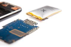 Smartphone unassembled closeup isolated on a white background Royalty Free Stock Photos