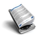 Smartphone- und Geschäftsbücher des Bildschirm- Stockbild