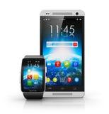 Smartphone und intelligente Uhr Stockbild