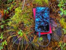 Smartphone und powerbank auf Baumstumpf Stockfotos