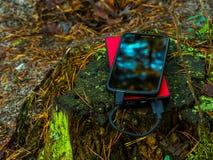 Smartphone und powerbank auf Baumstumpf Lizenzfreie Stockfotos