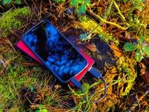 Smartphone und powerbank auf Baumstumpf Lizenzfreies Stockfoto