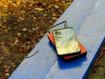 Smartphone und powerbank auf einem Brett Lizenzfreie Stockfotografie