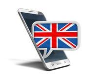 Smartphone und Rede des Bildschirm- sprudeln mit BRITISCHER Flagge Stockbild