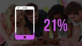 Smartphone und zunehmender Prozentsatz füllen die gelben und jungen Erwachsenen aus, die Smartphones verwenden stock video