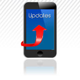 Smartphone with updates, mobile update Royalty Free Stock Image