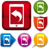 Smartphone upload icon Stock Photography