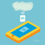 Smartphone upload jpeg photo to cloud computing. Stock Images