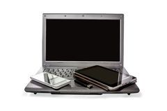 Smartphone, USB flash drive, the Tablet and laptop  on white bac Stock Photos