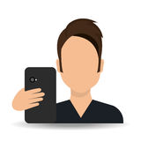 Smartphone and user Stock Image