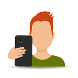 Smartphone and user Stock Photography