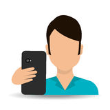 Smartphone and user Royalty Free Stock Photos