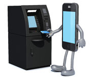 Smartphone that is using an ATM. 3d illustration Stock Images