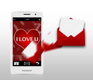 Smartphone valentines message Stock Image