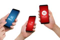 Smartphone van de handgreep, tablet, celtelefoon met toepassingspictogram Stock Foto's