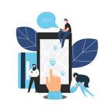 Smartphone van de handholding met aandeel app stock afbeeldingen