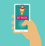Smartphone van de handholding met koopt online Het winkelen van Internet Vlak Ontwerp Vector illustratie Eps 10 Stock Afbeelding