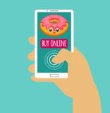 Smartphone van de handholding met koopt online Het winkelen van Internet Vlak Ontwerp Vector illustratie Eps 10 Royalty-vrije Stock Foto's
