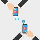 Smartphone van de handholding in vlak ontwerp Stock Foto