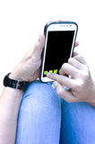 Smartphone van de holding stock afbeelding