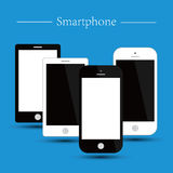 Smartphone. Vector illustration of smartphone with blue background. White and black blank screen Stock Photos