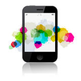 Smartphone Vector Illustration with Splashes Stock Images