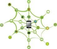 Smartphone verbindt globaal Stock Foto