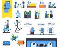 Smartphone-Verslaving Vector illustratiereeks Stock Fotografie